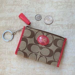 Coach mini skinny ID key ring coin case wallet
